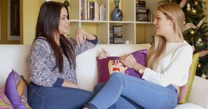 Two young woman relaxing chatting at home. In the living room on a comfortable sofa  profile view as they face each other stock video footage