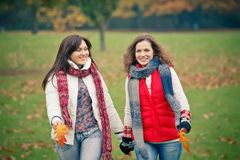Two young woman walking in autumn park royalty free stock photos