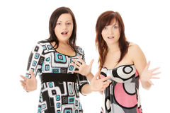 Two young womans surprised Stock Photography