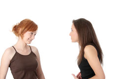 Two young womans talking Royalty Free Stock Photo