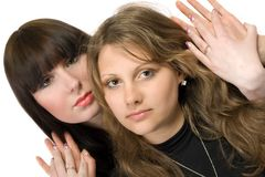 Two young women. Two beauty young embracing women. Isolated Stock Photography