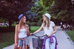 Two young women holding hands walking in green park. Best friends. Two young women best friends walking on summer day in green park royalty free stock photos