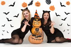 Halloween.Portrait of two young woman in black witch halloween costumes on party. Two young women in black witch halloween costumes on party Royalty Free Stock Image