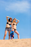 Two young women with blue sky in summer Stock Photos