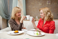 Two young women in cafe Stock Image