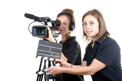Two young women with  camera Stock Photos