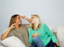 Two young women chatting Stock Image
