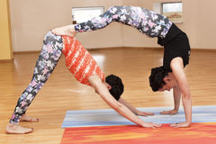 Two young women do yoga Royalty Free Stock Photo