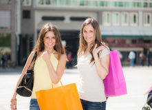 Two young women doing shopping Stock Images