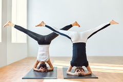 Two young women doing yoga asana open angle pose in headstand Stock Photo