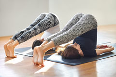 Two young women doing yoga asana plow pose Stock Photography