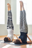 Two young women doing yoga asana supported shoulderstand Royalty Free Stock Photography