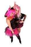 Two young women dressed in punk style Stock Images