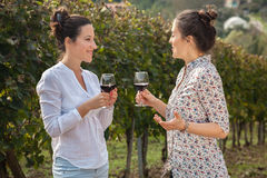 Two Young Women Drinking Wine Royalty Free Stock Photos