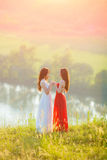 Two young women enjoying nature stock photography