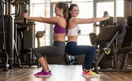 Two young women exercising together back to back with weight pla. E view of two young women smiling while exercising together back to back with weight plates in Stock Photo