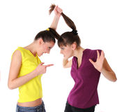 Two young women fighting Stock Photography