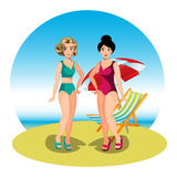 Two young women friends at beach Royalty Free Stock Images