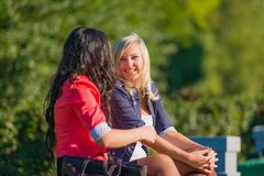 Two young women friends outdoors Stock Photography