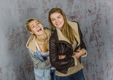 Two young women friends talking Stock Photo