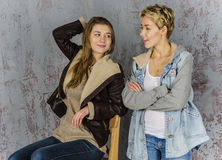 Two young women friends talking Royalty Free Stock Photo