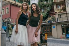 Two young women of the girlfriend of a tourist stand at the hote Stock Photography