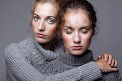 Two young women in gray sweaters on grey background. Beautiful g Royalty Free Stock Photography