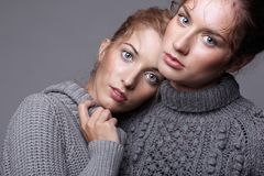 Two young women in gray sweaters on grey background. Beautiful g Royalty Free Stock Images