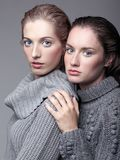 Two young women in gray sweaters on grey background. Beautiful g Stock Photo