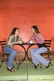 Two Young Women Having Coffee stock images