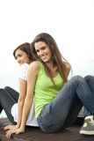 Two young women having fun Stock Image