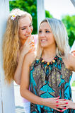 Two young women having fun Royalty Free Stock Image