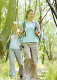 Two young women hiking between the trees royalty free stock photos