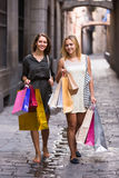 Two young women holding shopping bags Royalty Free Stock Images
