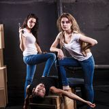 Two young women killed man Stock Image
