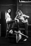 Two young women killed man royalty free stock photos