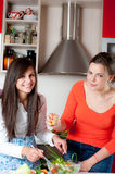 Two young women in modern kitchen Royalty Free Stock Photography