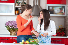 Two young women in modern kitchen. Cooking Royalty Free Stock Photo