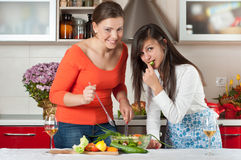 Two young women in modern kitchen. Cooking Stock Image