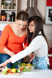 Two young women in modern kitchen Royalty Free Stock Photos