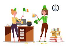 Two young women office workers celebrate St. Patrick`s Day at workplace with beer mugs, Ireland flag in hands. Piles of paper stock illustration