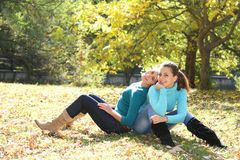 Two Young Women On Natural Background Royalty Free Stock Image