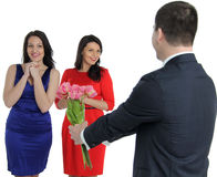 Two young women and one gay Royalty Free Stock Photo