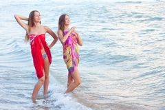 Two young women in a pareo Royalty Free Stock Photo