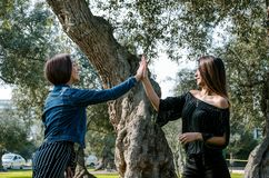 Two young women on the park giving high five. stock images