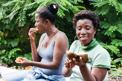 Two young women picnic Royalty Free Stock Photos