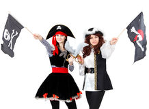 Two young women in pirate costumes isolated Royalty Free Stock Photography
