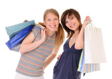 Two young women with purchases Stock Photography