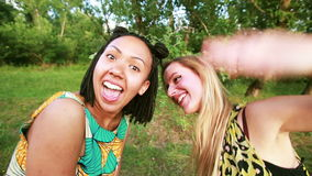 Two young women sending love to the camera. Two young women having fun while smiling and sending love to the camera in the park stock footage