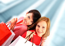 Two young women shopping Royalty Free Stock Image
